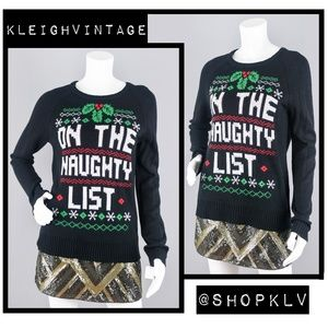 On The Naughty List Women's Christmas Sweater MED